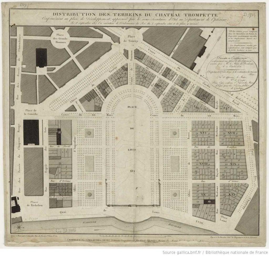 Aménagement de l'Esplanade ses Quinconces en 1817