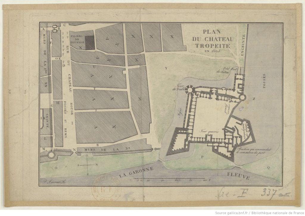 Plan du Château Trompette en 1615
