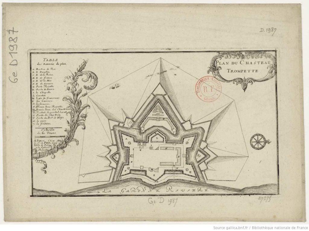 Plan du Château Trompette en 1700