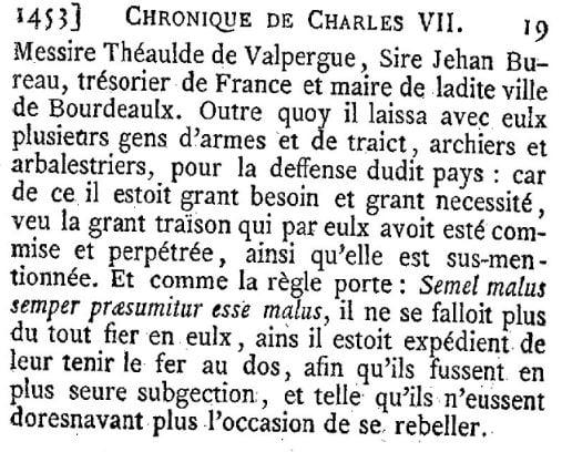 Evocation du château du hâ par Charles VII
