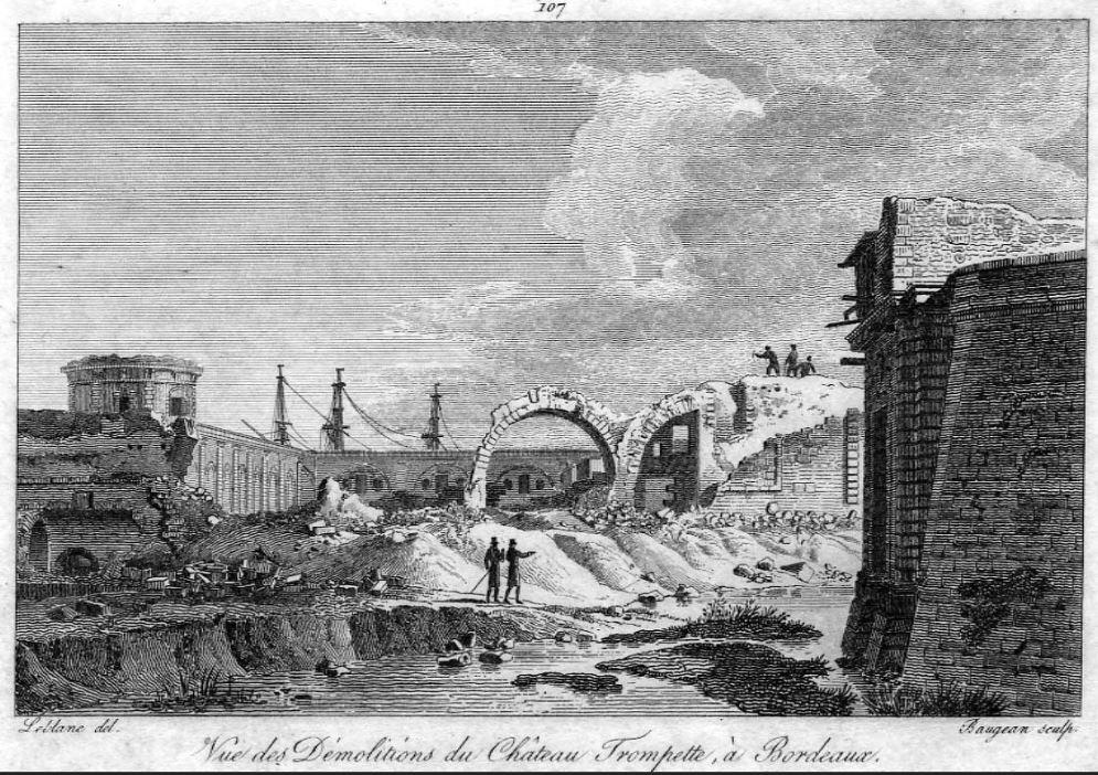 Gravure destruction du château trompette 1817