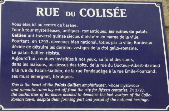 Plaque rue du Colisée Bordeaux