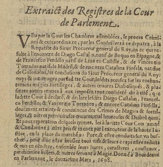extrait du registre du parlement sorcellerie
