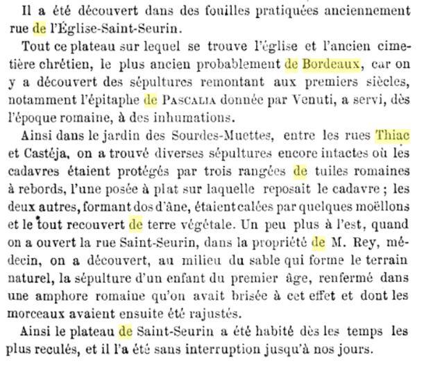 Rapport sur la decouverte de lan'cienne nécropole dans la société archéologique de Bordeaux