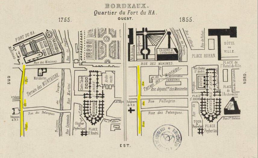 plan du quartier pey berland 1755 - 1855 et rue du hâ
