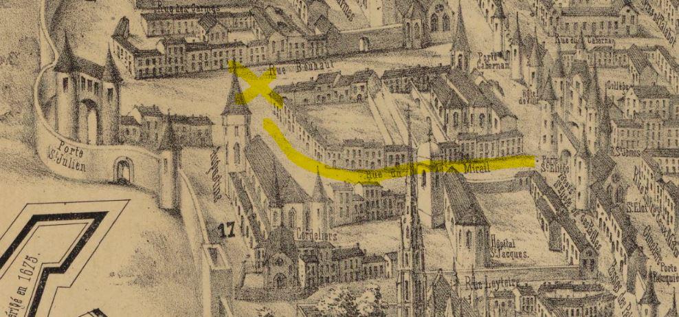 Représentation de la rue du Mirail de bordeaux au XVIIème siècle